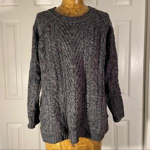 525 America GrayBlueBlack Blend Cable Knit Sweater